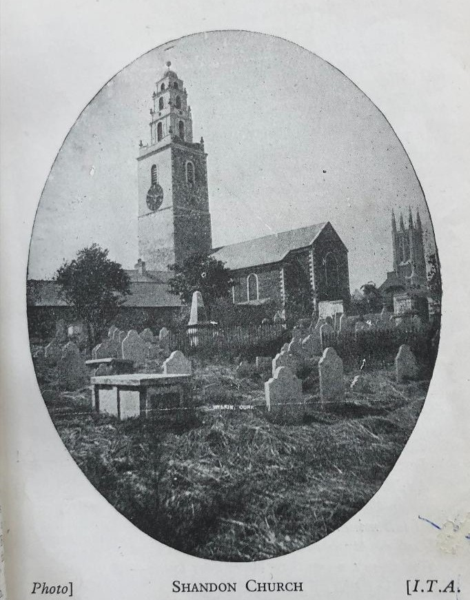 St Anne's Church, Shandon, c,1925 from Guy's Directory of Cork (source: Cork City Library)