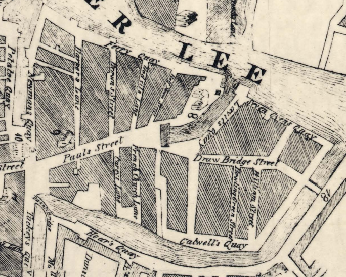 St Paul's Church is no.9 (centre left) on this section of another perspective of John Carty's Map of Cork from 1726 (source: Cork City Library)