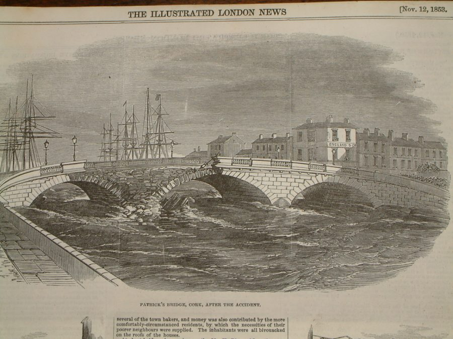 St Patrick's Bridge, 1853, damage from flood as depicted in the Illustrated London News