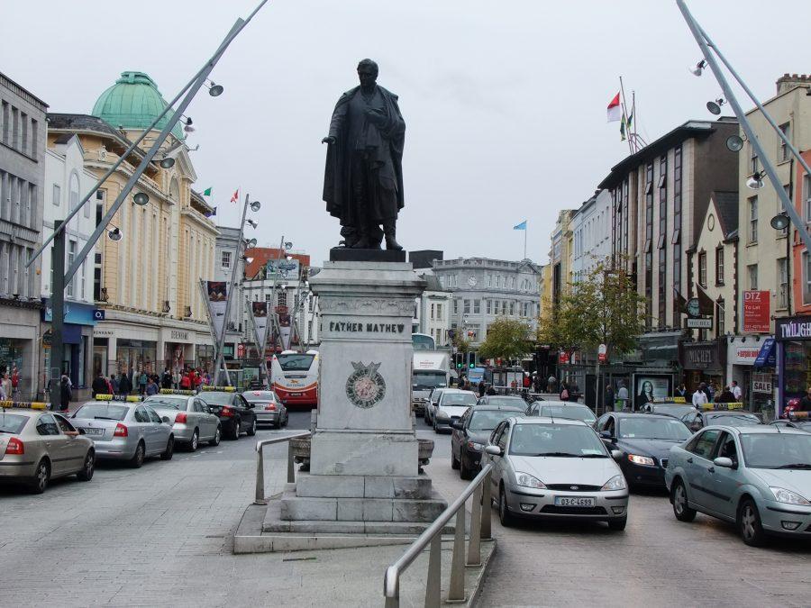Fr Mathew Statue, St Patrick's Street, present day,  from Cork City Through Time by Kieran McCarthy and Dan Breen