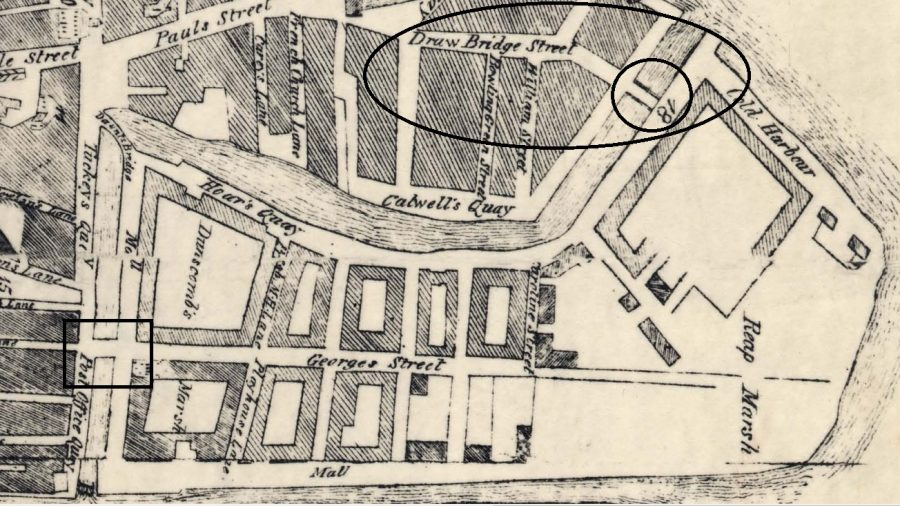 Section of Charles Smith's Map of Cork, 1750 - circle on the top right shows the drawbridge; box  on the left shows Dunscombe's Bridge (source: Cork City Library)