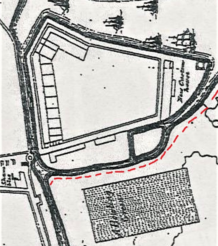 Section of Storey's Map of Cork, 1690 showing the exterior Walkabout   plus the river channel, which was to become St Patrick's Street  (source: Cork City Library)