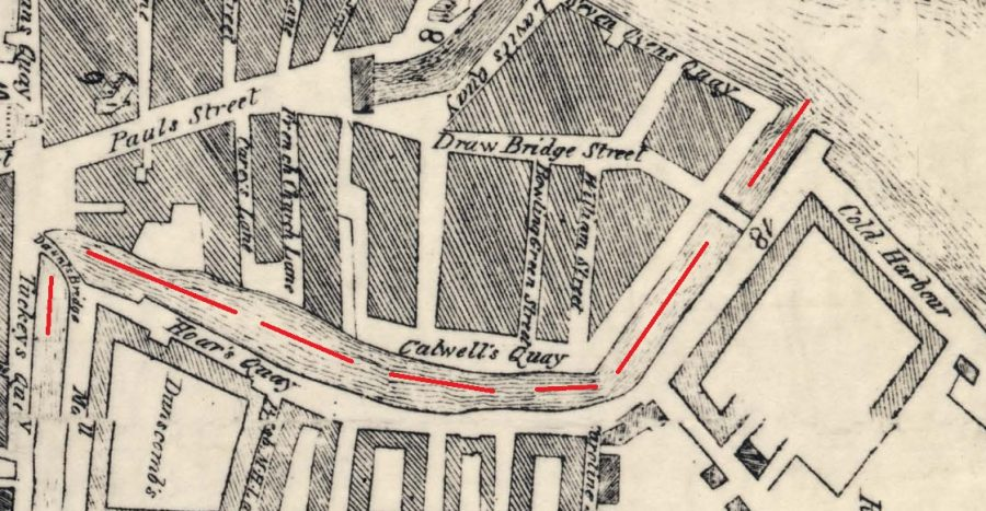 Section of Smith's Map of Cork from 1750 with my red line denoting the central eastern canal showing Calvill's Quay and Hoare's Quay, which was to become St Patrick's Street (source: Cork City Library)