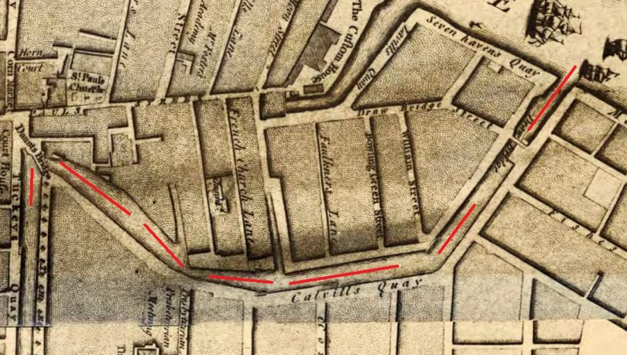 Section of Rocque's Map of Cork from 1759  with my red line denoting the central eastern canal showing Calvill's Quay and Hoare's Quay, which was to become St Patrick's Street (source: Cork City Library)
