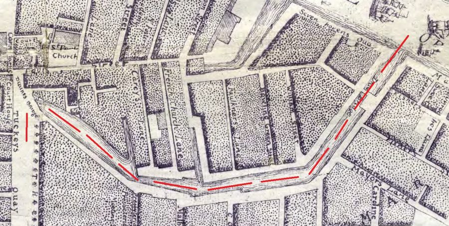 Section of Rocque's Map of Cork from 1773 with my red line denoting the central eastern canal showing Calvill's Quay and Hoare's Quay, which was to become St Patrick's Street (source: Cork City Library)