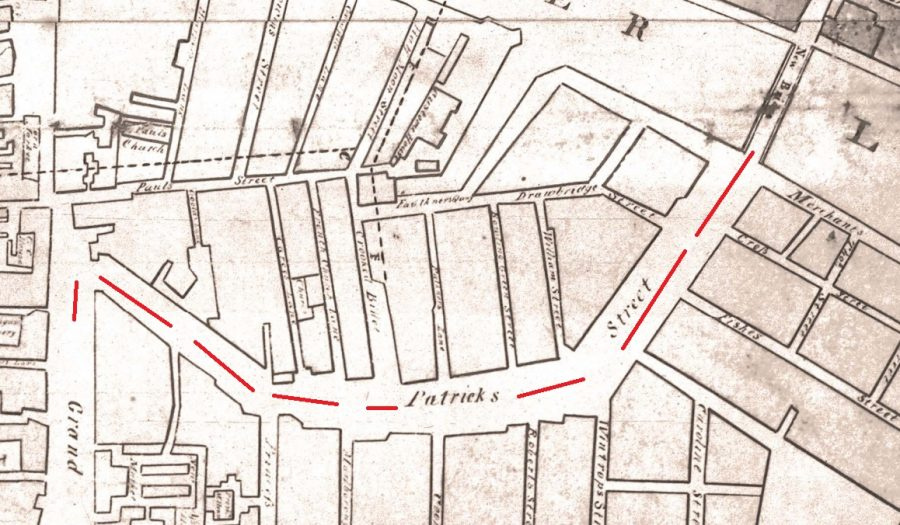 Section of Murphy's Map of Cork from 1789 with my red line denoting the new St Patrick's Street (source: Cork City Library)
