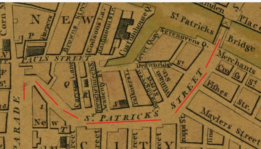 Section of Beauford's Map of Cork from 1801 with my red line denoting the new St Patrick's Street (source: Cork City Library)