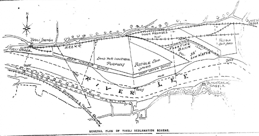 Map of Tivoli Reclamation Scheme, c.1919, from Cork Examiner (source: Cork City Library)