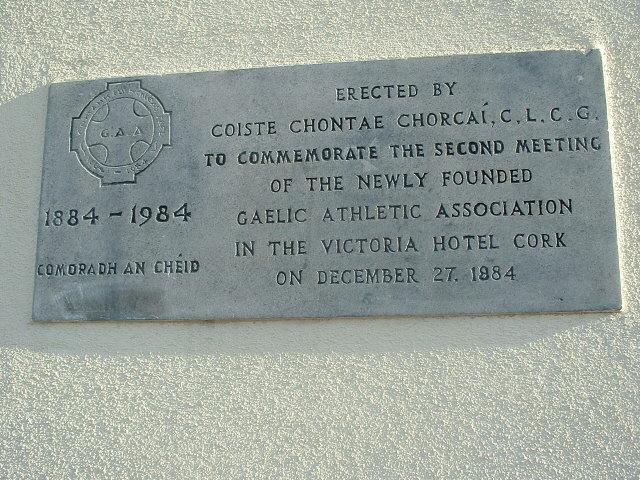 Plaque on former Victoria Hotel wall commemorating the second meting of the GAA in Cork on 27 December 1884