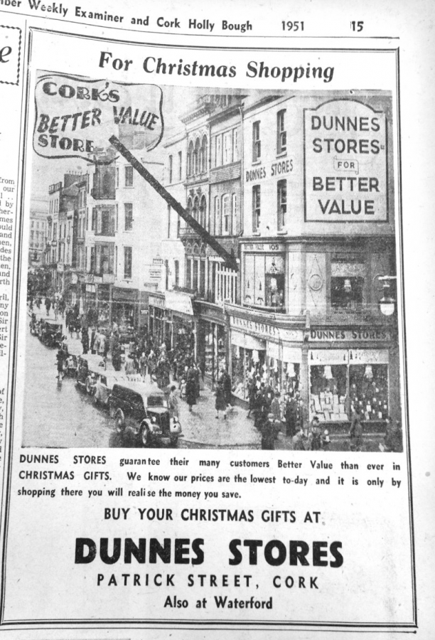 1951 Advertisement in Cork Hollybough for Dunne's Stores