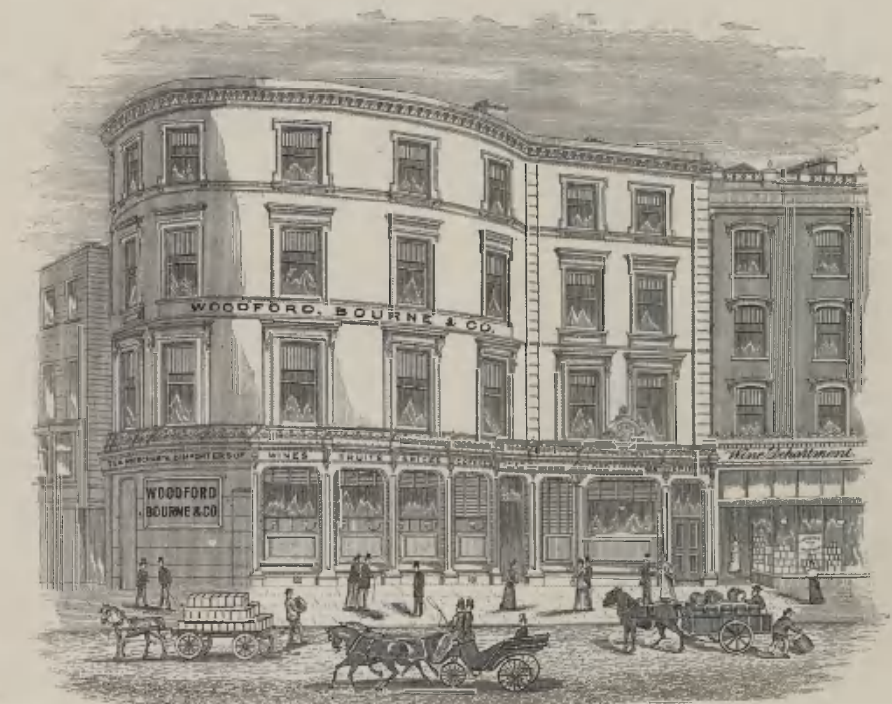 Woodford Bourne & Co., St Patrick's Street, Cork, from Stratten and Stratten, Dublin, Cork and the South of Ireland,1892 (source: Cork City Library)
