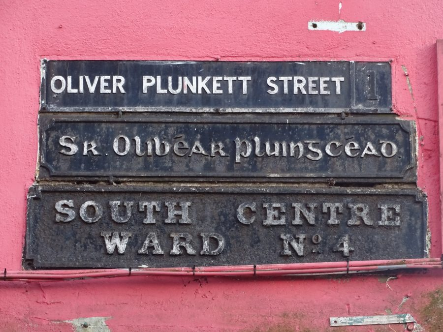 Plaque for Oliver Plunkett Street, present day (picture: Kieran McCarthy)