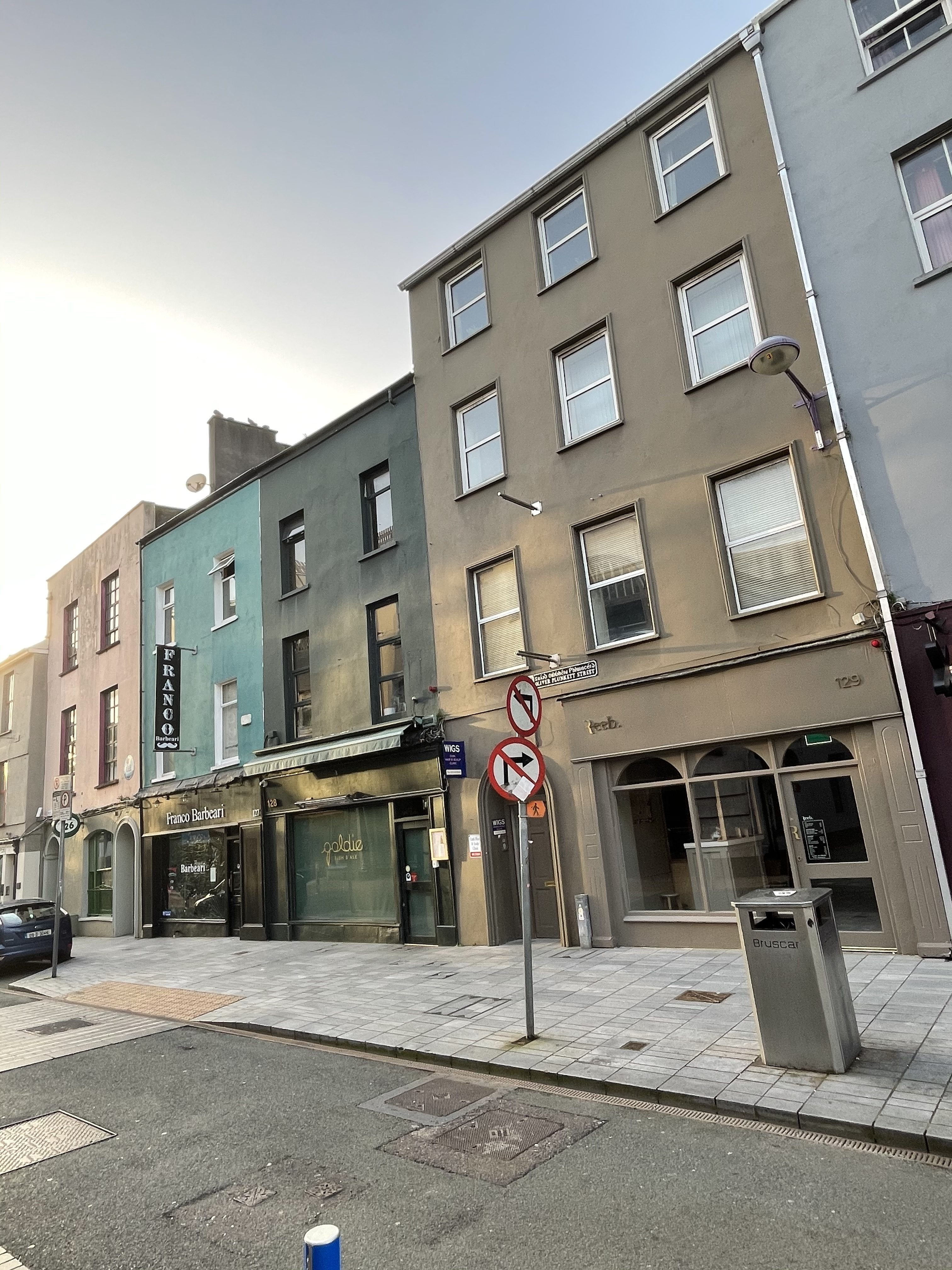 Four terraced three-bay by four-storey houses, built c. 1815 Oliver Plunkett Street, Cork, present day (picture: Kieran McCarthy)