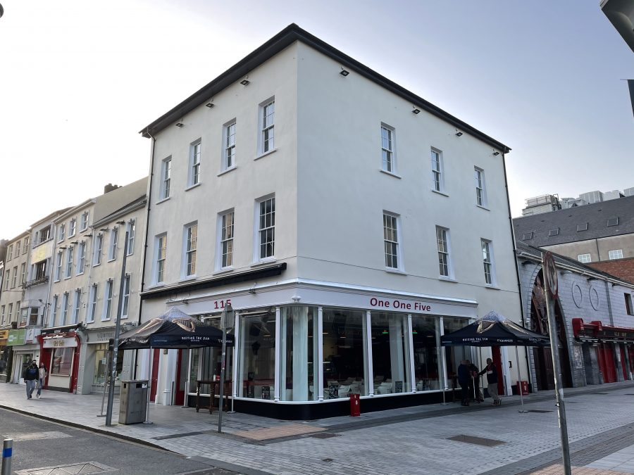 Corner-sited end-of-terrace four-bay by three-storey former house, built c. 1785, Oliver Plunkett Street, Cork, present day (picture: Kieran McCarthy)