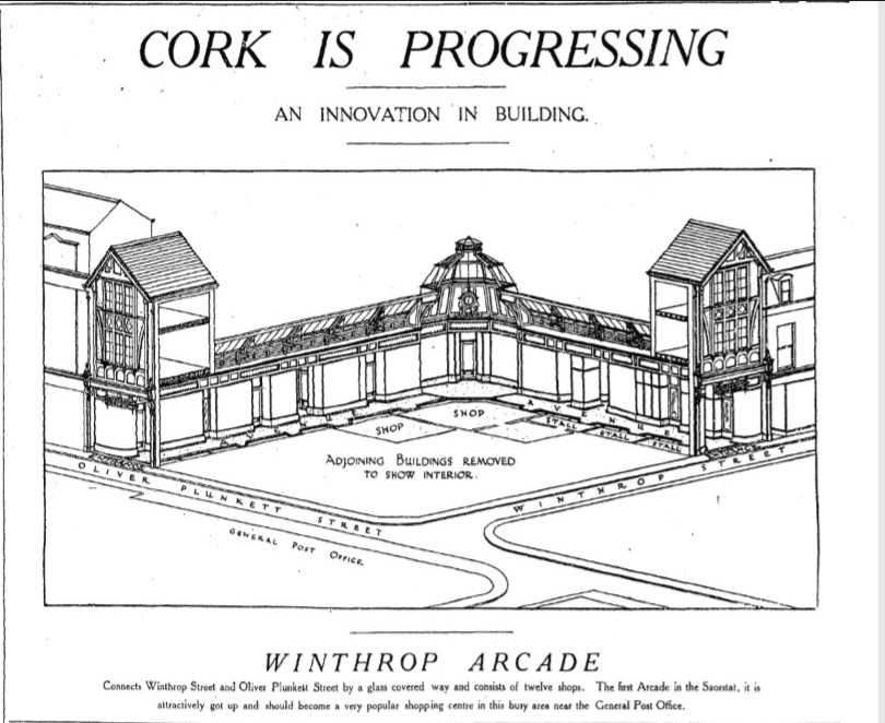 Sketch of Winthrop Arcade, from Cork Examiner, 8 March 1926