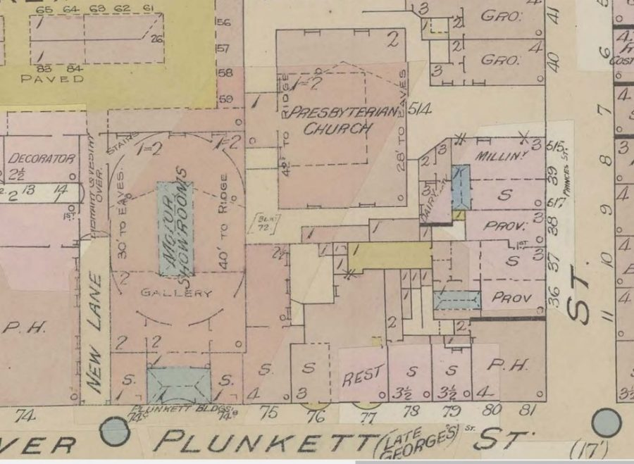 Motor Showrooms, aka former Independent Chapel site, 1926, Cork from Goad's Insurance Maps (source: Cork City Library)