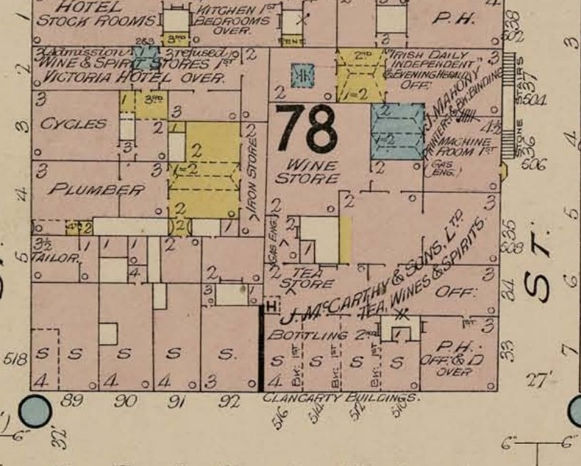 J McCarthy and Sons, Wholesale Tea and Wine Merchants as shown in Goads Insurance Map of Cork, 1906 (source: Kieran McCarthy)