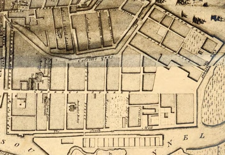 George's Street, Cork, 1759 from John Rocque (source: Cork City Library)
