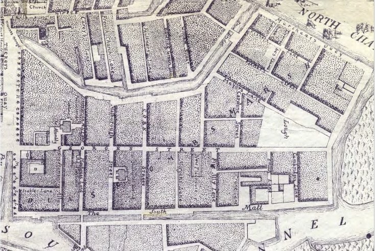 George's Street, Cork, 1773 from John Rocque (source: Cork City Library)