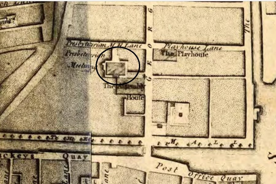 Presbyterian Meeting House, Cork, 1759 from John Rocque (source: Cork City Library)