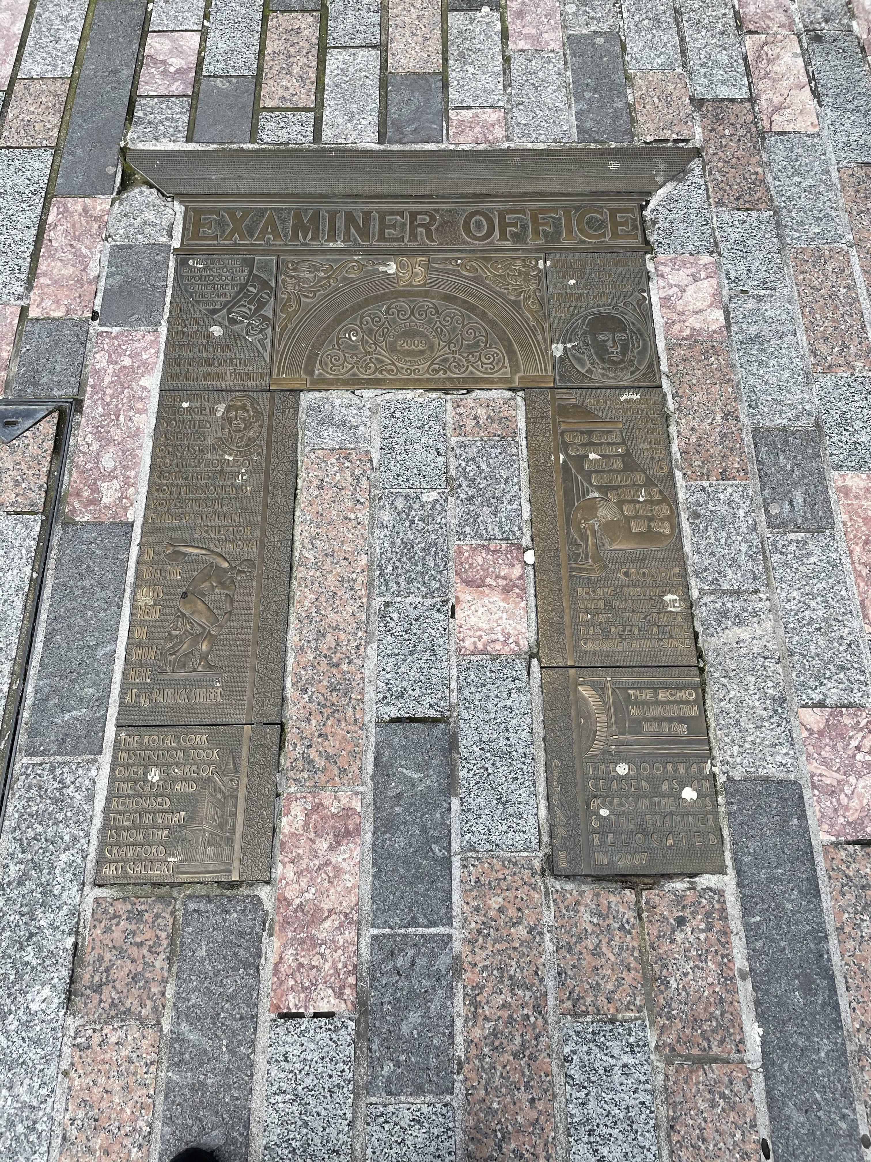 Plaque on ground highlighting former site of Cork Examiner Offices, present day (picture: Kieran McCarthy)