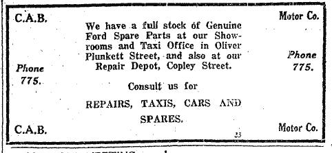 Advertisement for CAB Motors,  Oliver Plunkett Street, Cork, 15 October 1925 (source: Cork Examiner)