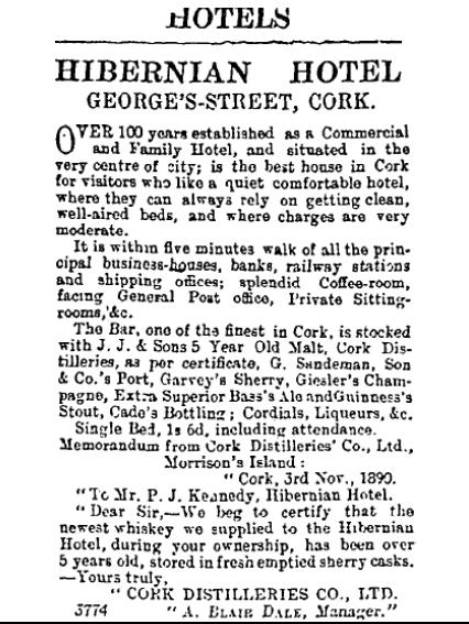 Hibernian Hotel, Cork Examiner, 14 November 1891, p.6