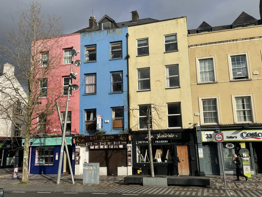 Former site of the Shamrock Hotel, 31 Grand Parade, Cork City, present day, blue building in the centre (picture: Kieran McCarthy)