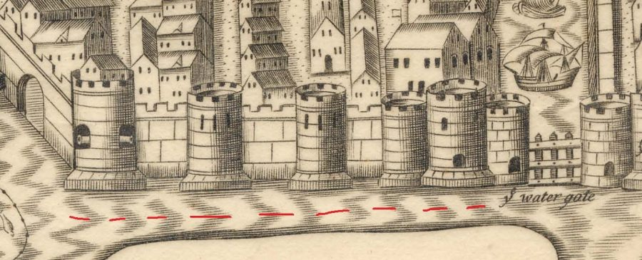 South east quadrant of the town wall, c.1600  as depicted in George Carew's Pacata Hibernia, c.1600 (source: Cork City Library)