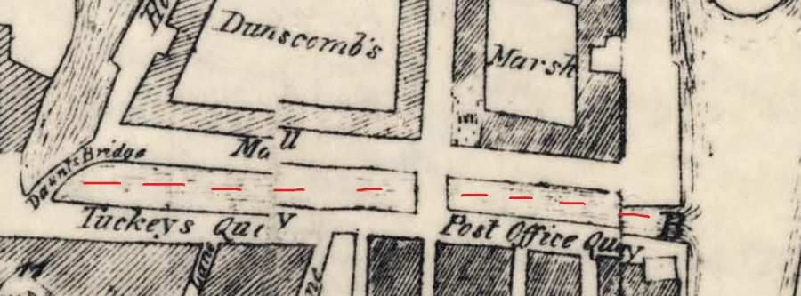 Tuckey's Quay and Post Office Quay from Charles Smith's Map of Cork, 1750 (source: Cork City Library)