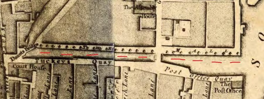 Tuckey's Quay and Post Office Quay from John Rocque's Map of Cork, 1759 (source: Cork City Library)