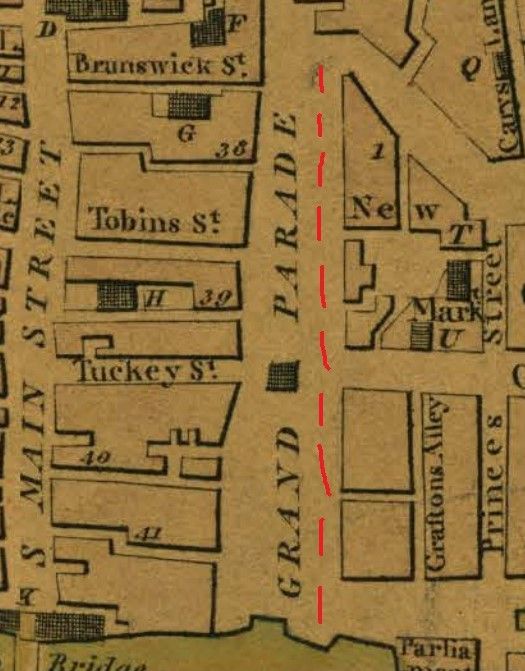 Grand Parade, from Beauford's Map of Cork, 1801 (source: Cork City Library)
