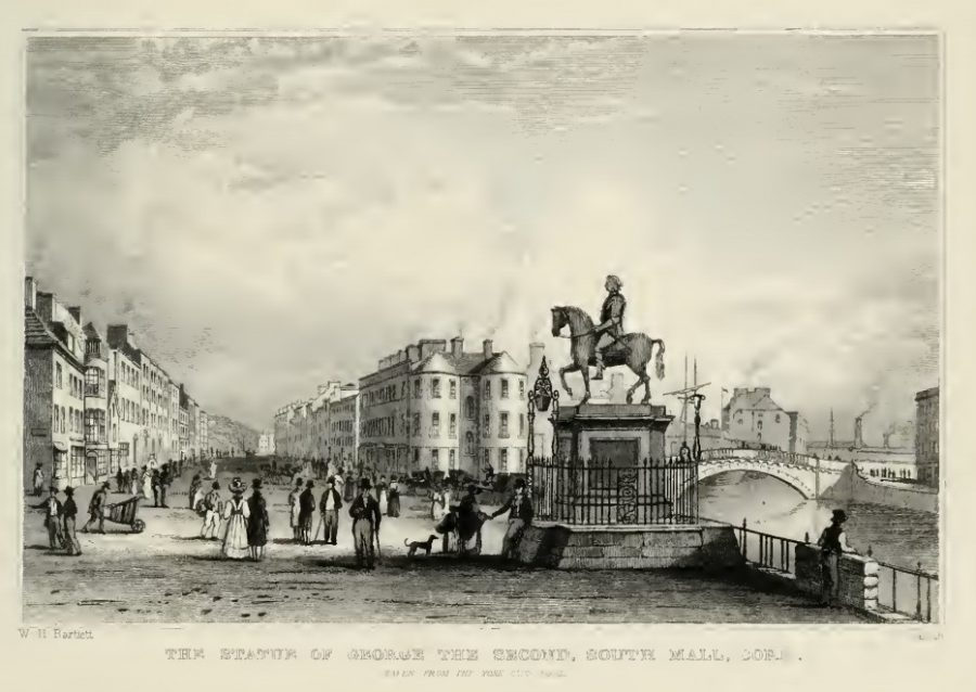 George II Statue on the corner of the Grand Parade and South Mall, c.1830 by W H Barlett in G N Wright's Ireland Illustrated.