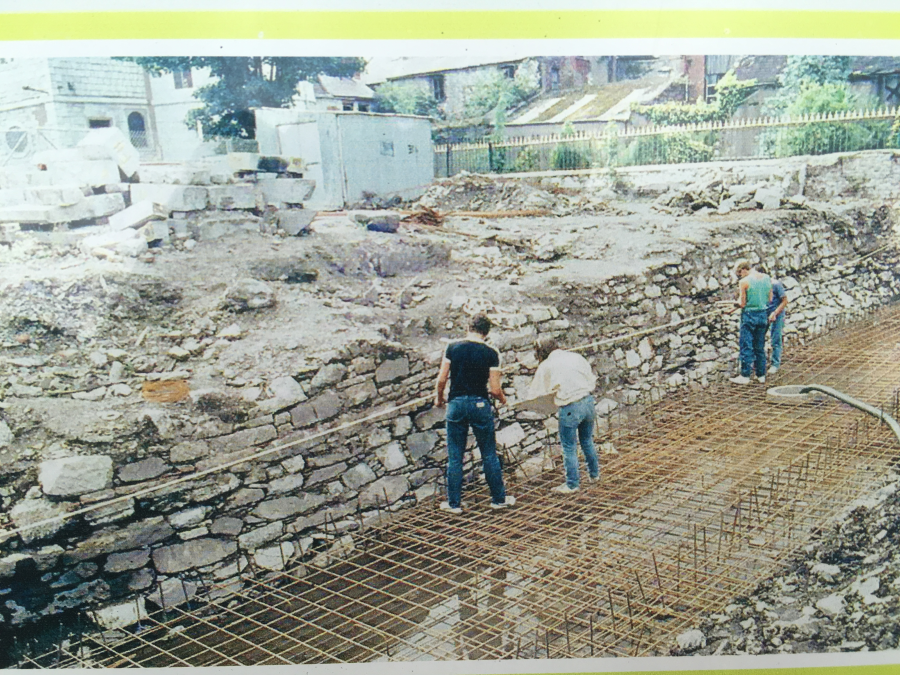 Survey of town wall, 1984 from interpretative panel at Bishop Lucey Park, Cork.