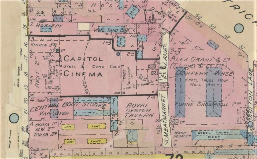 Map of Capital Cinema, Grand Parade, Cork from Goad's Insurance Maps (source: Cork City Library)