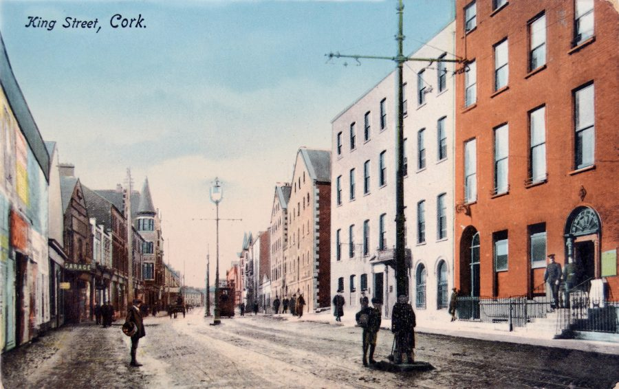 Postcard of King Street, now MacCurtain Street, with RIC Barracks shown on the right, c.1900 (source: Cork City Library)