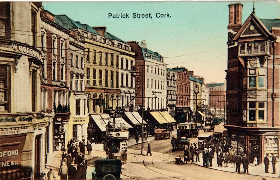 View from Woodford and Bourne street corner, St Patrick's Street, c.1910, from Cork City Through Time by Kieran McCarthy and Dan Breen