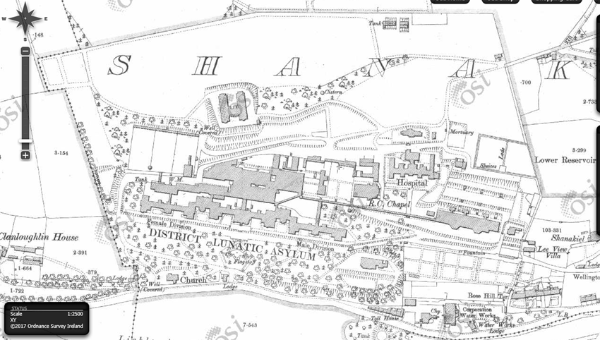 Cork Lunatic Asylum, 1900  (source: OSI)
