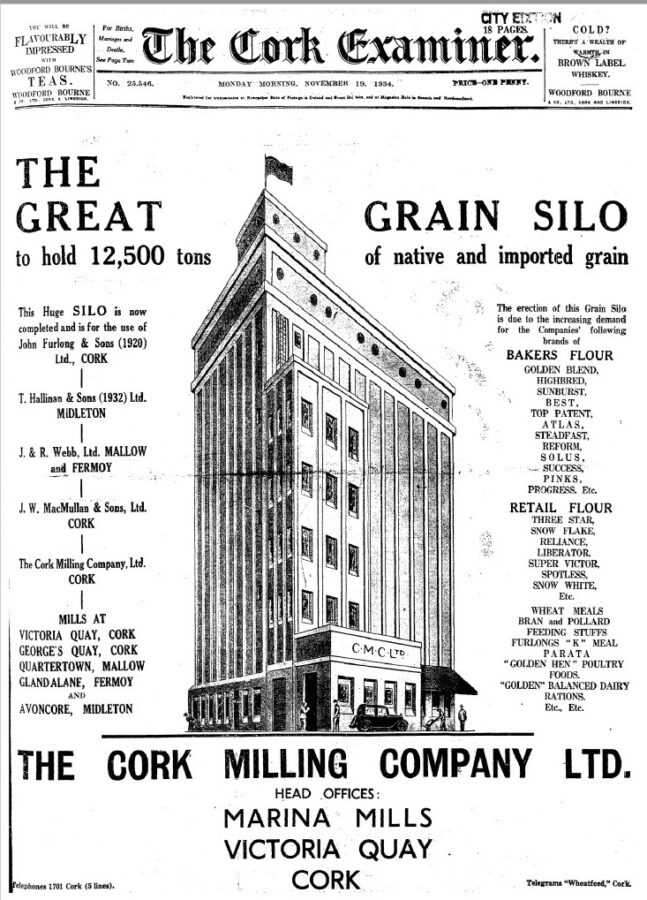 Advertisement for the grain silo  for the Cork Milling Company, 1936 (source: Cork Examiner)