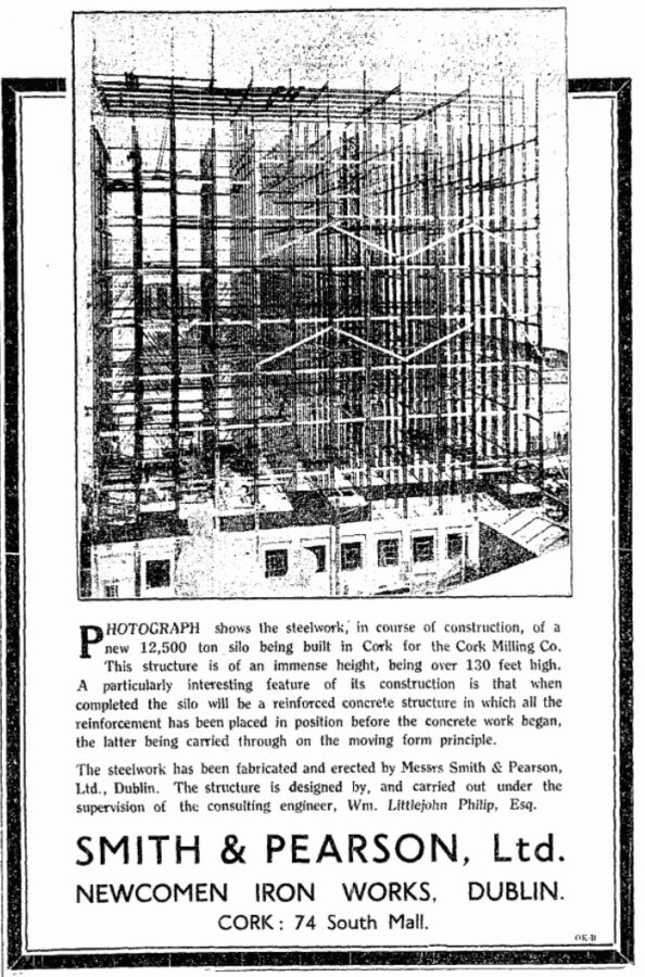 Advertisement for the grain silo in construction for the Cork Milling Company, 1936 (source: Cork Examiner)