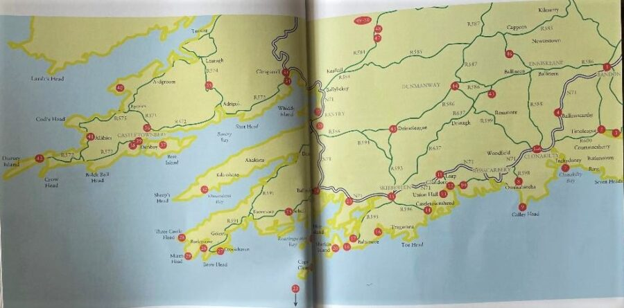 Map from 50 Gems of West Cork by Kieran McCarthy (2019, Amberley Publishing)